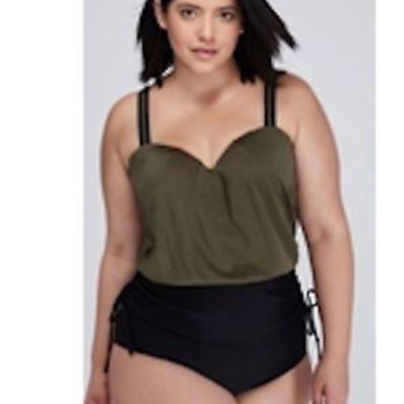 6055235ea Cacique Other - Lane bryant cacique olive blouson swimsuit 40D 20